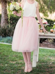Pink Grenadine Pleated High Waisted Fluffy Puffy Tulle Tutu Sweet Skirt