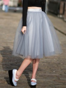 Grey Grenadine Pleated High Waisted Elegant Tutu Midi Skirt