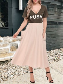 Apricot Patchwork Pockets Elastic Waist Fashion Long Skirt