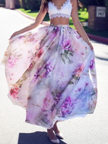 Light Purple Floral Print Draped Chiffon High Waisted Bohemian Skirt