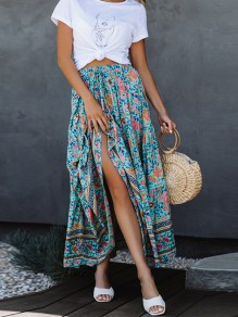 Green Tribal Floral Pleated High Waisted Bohemian Beach Skirt