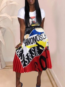 White Colorful Letter Print Pleated Hippy Rock and Roll Casual Skirt