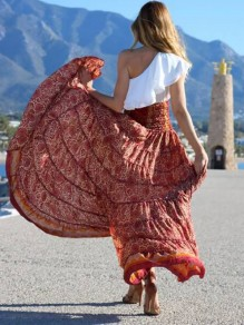 Red Tribal Print Bohemian Elastic Waist Flowy High Waisted High-Low Skirt