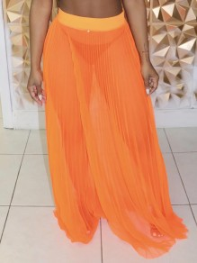Neon Orange Patchwork Elastic Waist Pleated High Waisted Flowy Long Sheer Skirt