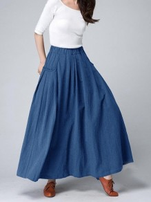 Dark Blue Pockets Draped High Waisted Fashion Going out Skirts