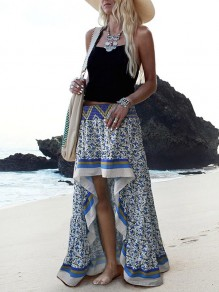Blue White Floral High-low High Waisted Bohemian Boho Beach Skirt