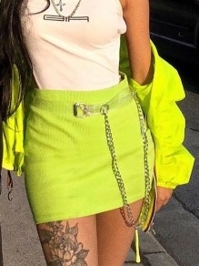 Neon Yellow Belt Chain High Waisted Hip Bodycon Clubwear Mini Skirt
