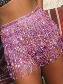 Pink Sequin Tassel Belt Bow Club High Waisted Shimmer Glitter Sparkly Festival Beach Mini Skirt