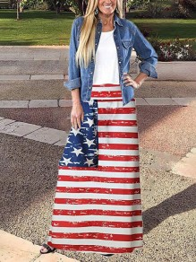 Red American Flag Print Independence Day High Waisted Festival Maxi Skirt