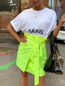 Neon Lime Green Irregular Drawstring Belt High Waisted Fashion Mini Skirt