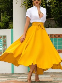 Neon Yellow Irregular Pockets Belt Lace-up High Waisted Flowy Cute Maxi Skirt