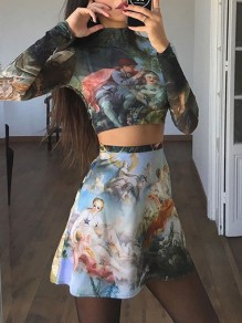 Blue Floral High Waisted Party Fashion Skate Skirt