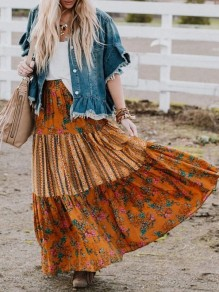 Orange Floral Pattern Pocket Pleated Draped Ruffle Elastic Waist Fashion Bohemian Maxi Skirt