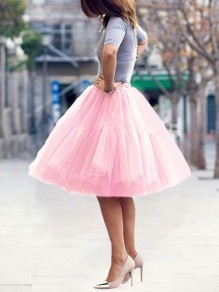Pink Layers Of Grenadine High Waisted Fluffy Puffy Tulle Cute Midi Skirt