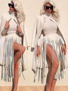 White PU Leather Tassel High Waisted Clubwear Hot Midi Skirt