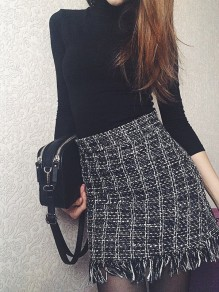 Black-White Plaid Print Patchwork Tassel High Waisted Vintage Skater Mini Skirt