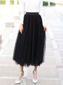 Black Grenadine Pleated High Waisted Elegant Tulle Tutu Skirt