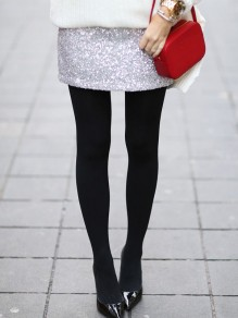 Silver Sequin High Waisted Elastic Waist Elegant Skirt