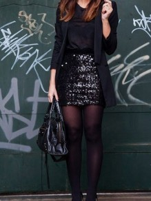 Black Sequin High Waisted Elastic Waist Elegant Skirt