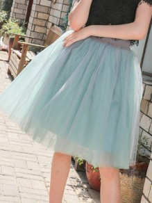 Light Green Patchwork Grenadine Elastic Waist High Waisted Sweet Party Tulle Tutu Knee Length Skirt