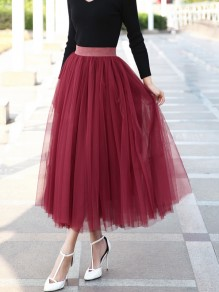 Burgundy Grenadine Pleated High Waisted Elegant Tulle Tutu Skirt