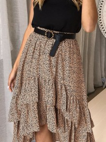 Khaki Polka Dot Ruffle High-low High Waisted Elegant Skirt