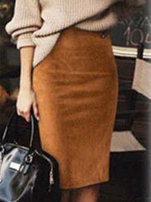 Khaki Patchwork Zipper Knee Length High Waisted Fashion Skirt