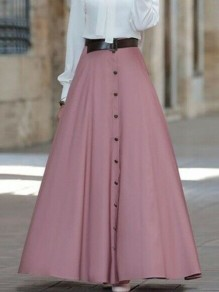 Apricot Button High Waisted Floor Length Elegant Skirt