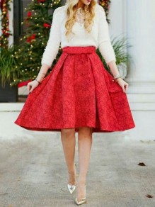 Red Floral Print Draped High Waisted Elegant Skate Skirt