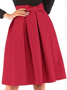 Red Patchwork Bow Big Swing High Waisted Sweet Skirt