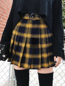 Yellow Black Plaid Pleated High Waisted Party Skate Skirt