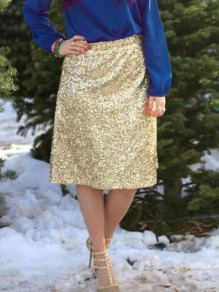 Golden Sequin High Waisted Flare NYE Sparkly Banquet Party Short Skirt