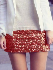 Red Sequin Glitter Sparkly High Waisted Plus Size Bodycon NYE Banquet Party Short Skirt