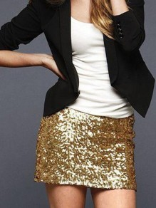 Gold-Black Sequin Glitter Sparkly High Waisted Plus Size Bodycon NYE Banquet Party Short Skirt