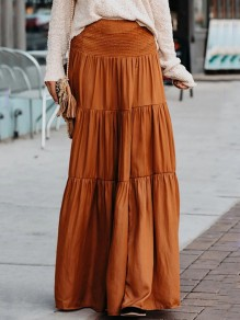 Khaki Pleated High Waisted Oversize Vintage Maxi Skirt