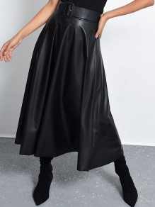 Black PU Leather Belt Pleated Draped High Waisted Elegant Prom Skirt