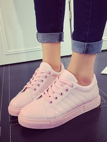 Pink Round Toe Flat Cross Strap Casual Shoes