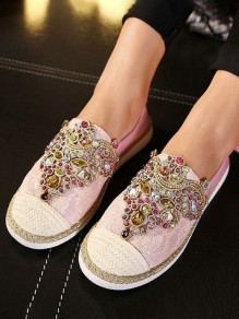 Pink Round Toe Flat Rhinestone Fashion Shoes
