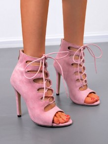 Pink Piscine Mouth Cut Out Fashion High-Heeled Shoes