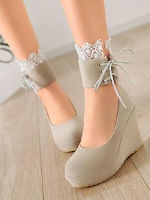 Beige Round Toe Wedges Lace Sweet High-Heeled Shoes