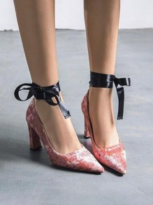 Pink Point Toe Cross Strap Bow Fashion High-Heeled Sandals