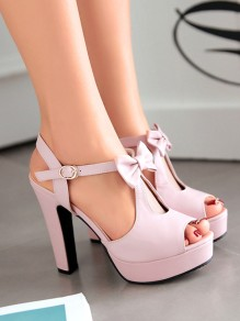 Pink Round Toe Piscine Mouth Chunky Bow Fashion Sweet High-Heeled Shoes