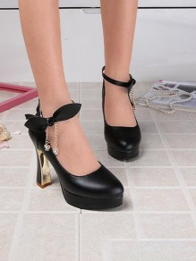 Black Round Toe Chunky Rhinestone Bow Fashion High-Heeled Shoes