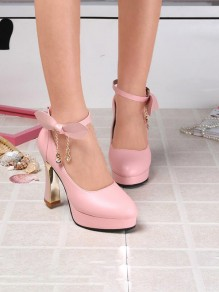 Pink Round Toe Chunky Platform Pumps Rhinestone Bow Elegant Wedding Prom High-Heeled Shoes
