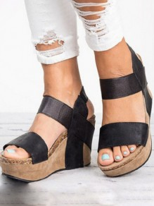 Black Round Toe Cut Out Fashion Wedges Sandals