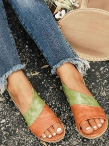 Green Round Peep Toe Flat PU Leather Fashion Ankle Sandals