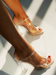 White Round Toe Transparent Casual High-Heeled Sandals
