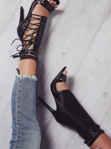 Black Point Toe Fashion Ankle High-Heeled Sandals
