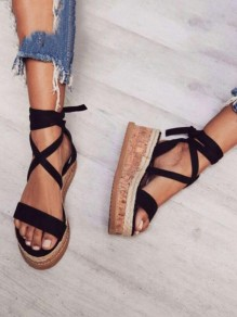 Black Round Toe Wedges Cross Strap Casual Sandals