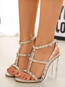 Apricot Piscine Mouth Rivet Cut Out Fashion High-Heeled Sandals